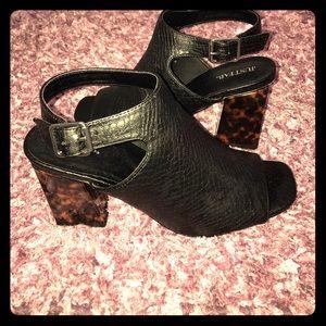 Black heeled bootie sandals